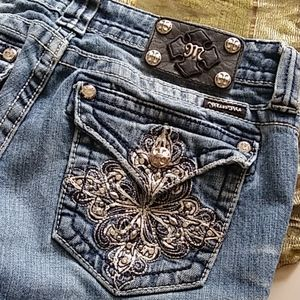 Distressed Jeweled Pocket Jean